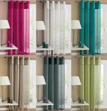 RIO PLAIN LINEN LIKE VOILE EYELET RING TOP CURTAIN PANEL ~ Many Colours & Sizes