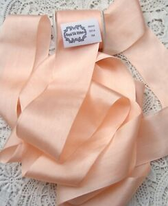 """100% PURE SILK  RIBBON [36MM] 1 1/2"""" WIDE ~ MISTY/PEACH ~COLOR ~ 2 1/2 YARDS"""