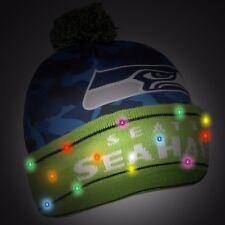 Seattle Seahawks Camouflage Light Up Logo Beanie Winter Hat Cuffed Pom CAMO