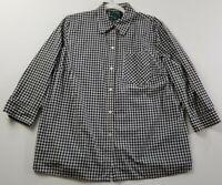 Lauren Ralph Lauren Women Long Sleeve Button Up Shirt 2X Plus Black White Plaid