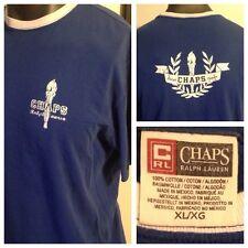 Mens Chaps Ralph Lauren Ringer T Shirt XL Spell-out Stadium Torch 2 Sided Graph