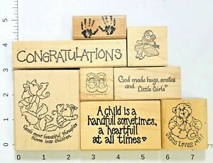 Lot 8 Rubber Stamps Baby Children Blessing Congratulations Handprints Baby Shoes