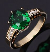 Jewelry Round Cut Emerald 18K Gold Filled Bridal Engagement Womens Ring Size 6-9