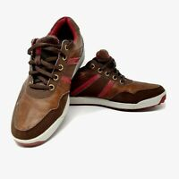 Footjoy FJ Shoes Contour Casual Mens Size 7 M Brown Red Spike less Leather Golf