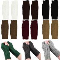 Gants tricotés sans doigts pour femmes en hiver, mitaines en tricot au poignet