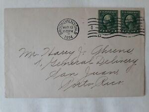 US cover 1914 WWI Brooklyn to San Juan PR; 1 cent pair