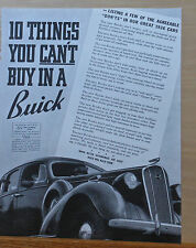 1936 magazine ad for Buick - List of Agreeable Don'ts you can't buy in a Buick