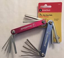 NEW GREAT NECK 7PC FOLDING HEX KEY SETS SAE STANDARD & METRIC 17004 ALLEN WRENCH