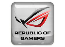 "Asus Republic of Gamers ROG 1""x1"" Chrome Domed Case Badge / Sticker Logo"