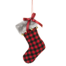 """BUFFALO PLAID Red Fabric Stocking Christmas Ornament, 6"""" Long, by Midwest CBK"""