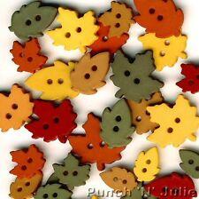Atizado Hojas-Otoño Invierno caída marrón Verde Coser vestirla Craft Botones