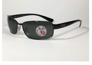 RAY BAN RB 3364 Black Rectangular Polarized Sunglasses NEW