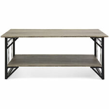 Modern Contemporary Wooden Coffee Table for Living Room, Office w/ Open Shelf St