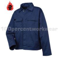 Warrior Flame Retardant Cotton Work Safety Jacket Uniform Navy Blue EN531 EN470
