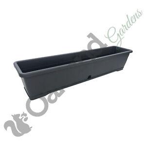 2 x 80cm Trough Planter Window Box Versilia Pot Dark Grey Drip Tray Anthracite