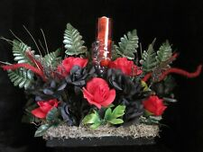 Centerpiece Faux Flower Floral Arrangement Handmade Halloween Decor