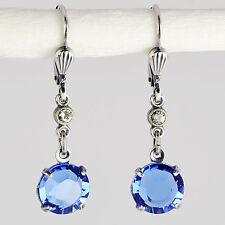 Ohrringe Ohrhänger Silber Altsilber Swarovski Kristall Rund Sapphire blau