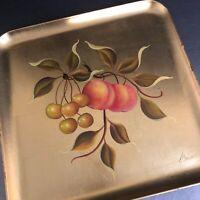 Gold Leaf Serving Tray VTG Peach Branch Cherries Mid Century Barware Wall Decor