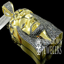 MENS LADIES BLACK LAB DIAMOND 14K YELLOW GOLD FINISH JESUS FACE CHARM PENDANT
