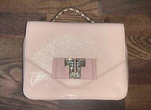 Brand New Tory Burch 'deco-t' Mini Patent Leather Chain Bag Small Blush $350