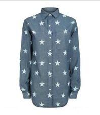 Denim & Supply Ralph Lauren Women's Star Print Blue Chambray Boyfriend Shirt XL