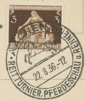 """DEUTSCHES REICH 1936 """"AACHEN 1 / REITTURNIER. PFERDESCHAU u. RENNEN"""" SST Postkrt"""