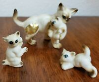 Vintage lot of 3 bone china Siamese cat kittens small miniature animal figurine