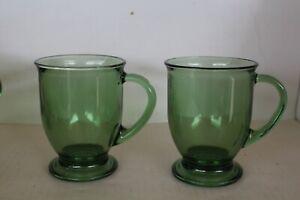 Set Of 2 Vintage Anchor Hocking Fern Green Glass Footed Pedestal Handle Mug Cup