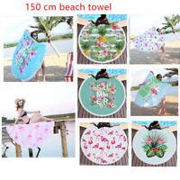 Flamingo Round Beach Towel Microfiber Beach Picnic Blanket Yoga Mat With Tassels