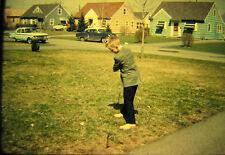 Vtg 35mm American Life Color Photo SLIDE 1961 Boy Golf Golfing Easter Suit 2 car