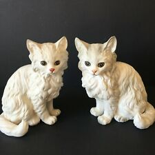 2 Vintage Lefton Persian Cats Porcelain Figurines 6 inches tall Blue Eyes H1517