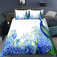 Doona Duvet Quilt Cover Set Single Double Queen King Bed Peacock Floral Blue