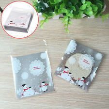100PCS Christmas Snowman Plastic Gift Bags Xmas Food Cookies Candy Packaging Bag