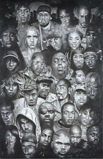 HIP HOP FACES POSTER (61x91cm) SNOOP EMINEM 2PAC 50 CENT PICTURE PRINT NEW ART
