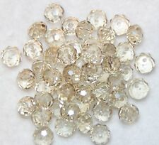 50 CRYSTAL GLASS FACETED SUNCATCHER BEADS 8 X 6 mm  - PALE YELLOW (BBA116)