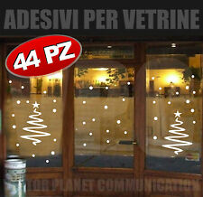 stickers natale 44 adesivi vetrine vetrofanie fiocchi neve cristalli alberi