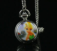 Disney Tinkerbell Princess Necklace Pocket Pendant Watch Child Watch Fashion HW
