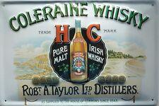 Coleraine Whisky-Tôle Bouclier 20x30cm pure malt Irish Whiskey A. Taylor Glasgow
