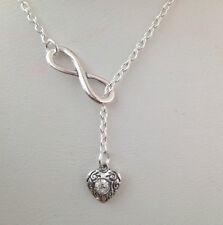 Rhinestone Corazón símbolo de infinito lazo dos Chapado en Plata Collar Regalo no deseado