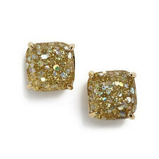 "NWT KATE SPADE SQUARE GLITTER STUD EARRINGS $32 1/4"" GOLD"