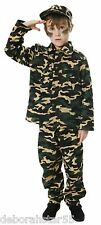 Boys Childs Kids Army Soldier Costume Armed Forces Camo Uniform 3 Sizes 4-12 yrs