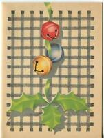 VINTAGE 1940'S CHRISTMAS YELLOW RED BLUE JINGLE BELLS GRAY GINGHAM GREETING CARD