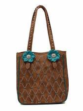 Blazin Roxx Western Womens Purse Willow Tote Flower Studs Brown Turq N7513802