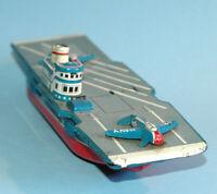 """NS Nomura SAN JAPAN tin friction US NAVY AIRCRAFT CARRIER 9 5/8"""" c1960"""