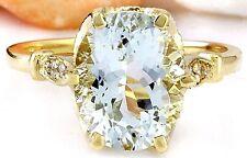3.70CTW NATURAL AQUAMARINE AND DIAMOND RING IN 14K YELLOW GOLD