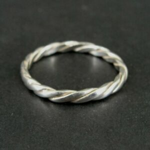 Ring Silver Twist Look Band Sterling 925 Band Size 11.5 Ring