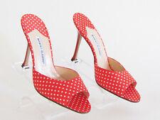 Women's Sandals Heels Shoe Designer Manolo Blahnik Red White Polka Dot Mules 8.5