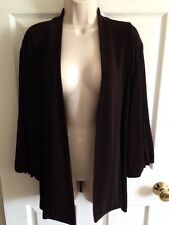 Chico's Travelers Brown 3/4 Sleeve Open Front Cardigan Top, Size 3 (XLarge/16)