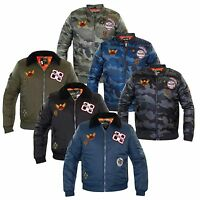 New Mens Designer Juice Brand Camouflage MA1 Badges Coat Bomber Padded Jacket