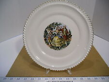 "The Harker Pottery Company USA Colonials 10 1/4"" Dinner Plate 22k Gold Trim EUC"
